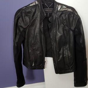BCBG Max Azria xs black leather jackrt sequins